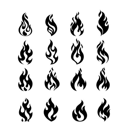 Illustration for Black Burning Fire Flame   set design vector template. Burn Fireball concept icon pack. Hot Inferno illustration. Bonfire creative collection. - Royalty Free Image