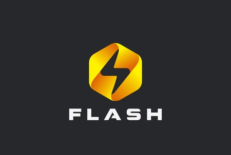 Illustration for Flash Logo abstract design vector template. Lighting bolt icon. Thunder electricity Power Fast Speed Logotype concept - Royalty Free Image