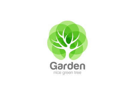 Ilustración de Tree Logo abstract design vector template Negative space style. Eco Green Organic Oak Plant Logotype concept icon - Imagen libre de derechos