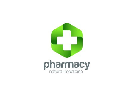 Illustration pour Pharmacy Logo Medicine green cross abstract design vector template. Eco bio natural Medical clinic infinity loop Logotype concept icon - image libre de droit