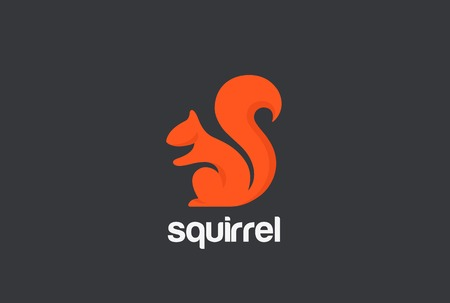 Illustration pour Squirrel Logo silhouette design vector template. Animal Logotype concept icon - image libre de droit