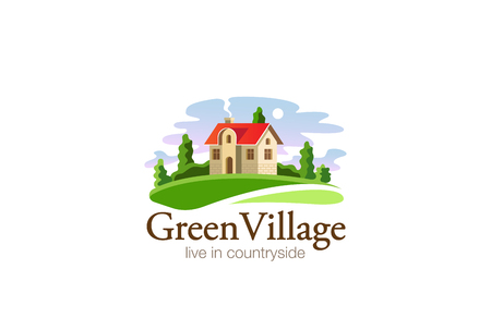 Illustration pour Village House Logo Real Estate design vector template. Cottage in countryside Agricultural Farm Logotype concept icon. - image libre de droit