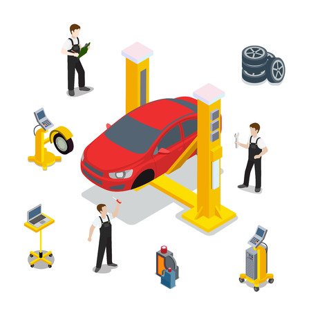Foto de Technical inspection red car service mockup vector template. Isometric checking vehicle web site illustration. Red car wheel tire rubber computer automatic diagnostic infographics on white background. - Imagen libre de derechos