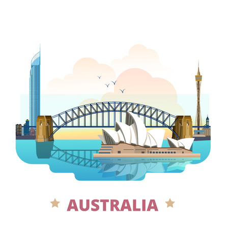 Illustration for Australia country flat cartoon style historic sight web site vector illustration. World travel sightseeing Australian collection. Sydney Opera House Harbour Bridge Q1 tower in Gold Coast Queensland. - Royalty Free Image