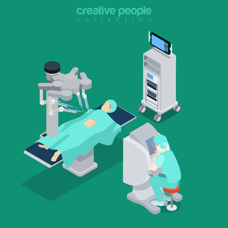 Illustration pour Robotic robot-assisted surgery patient medical hospital computer electronic modern equipment doctor operator. Flat 3d isometry style web site vector illustration. Creative people collection. - image libre de droit