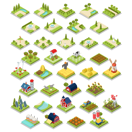 Illustration for Flat 3d isometric isometry vector set countryside infographics farm building object tool equipment. Country side barn warehouse storage shop tractor windmill cow garden field grow harvest stack hay. - Royalty Free Image