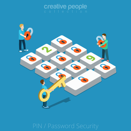 Illustration pour Flat isometric Micro men hold lock and key near huge button vector illustration. People choose Security Password, PIN 3d isometry concept. - image libre de droit