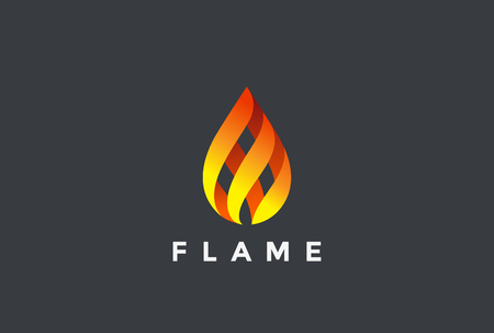 Illustration for Fire Flame droplet design vector template. Burning inferno fireball concept icon. - Royalty Free Image