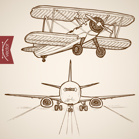 Photo for Engraving vintage hand drawn vector Air transport collection. Pencil Sketch Airplane, Plane flying evolution illustration. - Royalty Free Image