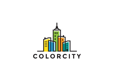 Illustration for Cityscape Buildings Real Estate Logo design vector template Linear style. Realty, Construction, Development Logotype concept icon - Royalty Free Image