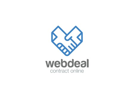 Illustration pour Deal Contract Documents Handshake Logo abstract vector template. Docs Hands Shaking Heart shape Logotype concept icon linear style - image libre de droit