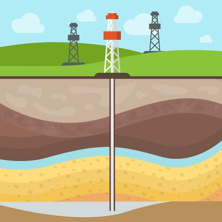 Illustration pour Flat Conventional gas reservoir, Towers on mineral field, Soil layers vector illustration. Natural Gas Extraction concept. - image libre de droit