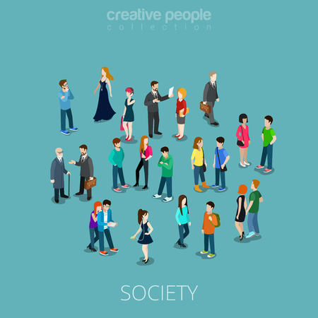 Illustration pour Isometric flat Crowd of people vector illustration. Different teens and adults stand, talk, make phone call and listen music. Society members 3d isometry concept. - image libre de droit