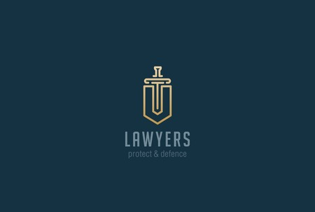 Illustration pour Lawyer Attorney Advocate Logo design vector template Linear style. Shield Sword Law Legal firm Security company logotype. Protect defense concept icon - image libre de droit
