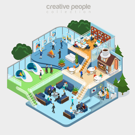 Illustration pour Flat isometric Modern office interior, businesspeople working vector illustration. 3d isometry business concept. Cafeteria, Fitness, Meeting room, Teamwork brainstorming, Analytics department. - image libre de droit