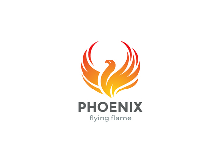 Illustration pour Phoenix Logo flying bird abstract design vector template. Eagle falcon soaring Logotype concept icon - image libre de droit