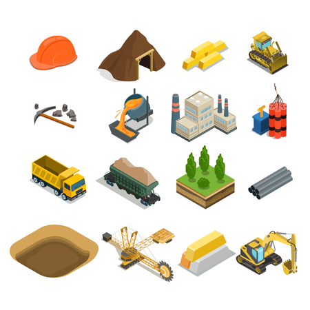 Illustration for Flat isometric gold coal and minerals extraction icons vector illustration set. 3d isometry Mining, Raw materials industry concept. - Royalty Free Image