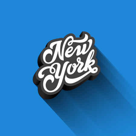 Illustration for New York text Calligraphy Vintage Retro Lettering vector design. Typography 3D Poster Banner Card template - Royalty Free Image