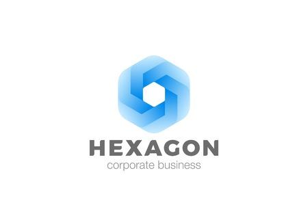 Illustrazione per Hexagon shape abstract corporate Logo infinity design vector template. Business Finance Technology universal geometric Logotype concept icon - Immagini Royalty Free