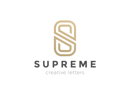 Illustration for S letter Luxury abstract Logo design vector template. Gold linear Logotype monogram icon - Royalty Free Image