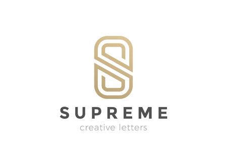 Illustration pour S letter Luxury abstract Logo design vector template. Gold linear Logotype monogram icon - image libre de droit