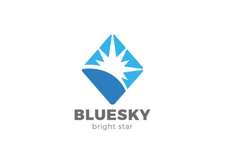 Ilustración de Blue Star shine abstract design template. - Imagen libre de derechos