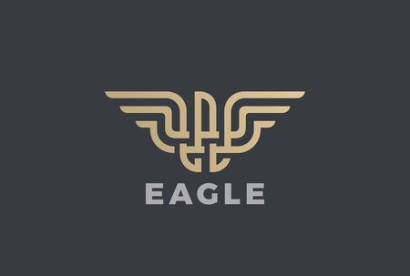 Illustration for Golden Eagle design template in Geometric Emblem. - Royalty Free Image