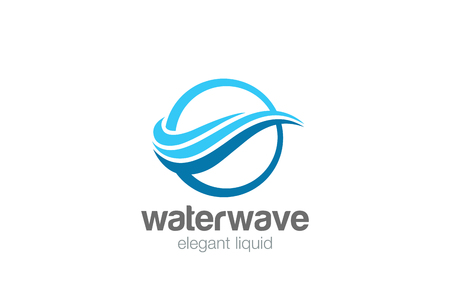 Ilustración de Elegant Wave Circle abstract Logo design vector template. Water wavy Lines Logotype concept icon - Imagen libre de derechos