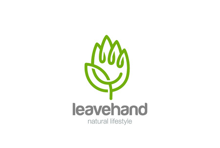 Illustration pour Eco Hand of green Leaves Logo design vector template Linear style. Creative Ecology Palm Symbol Logotype concept icon - image libre de droit