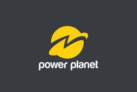 Illustration for Energy Power Planet with Flash Thunderbolt Logo design vector template. Global world technology Logotype concept. Negative space style icon - Royalty Free Image