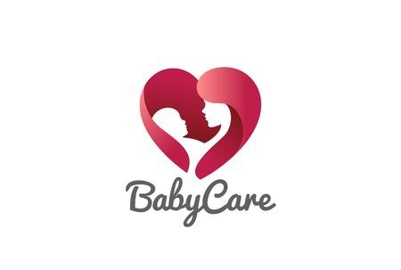 Ilustración de Mother holding Child baby Heart shape Logo design vector template. Medicine Clinic Care Charity Fund Logotype concept icon - Imagen libre de derechos