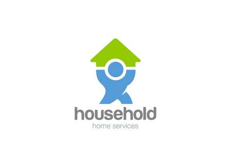 Illustration for Household service Logo design vector template. Man holding House Home Logotype concept icon - Royalty Free Image