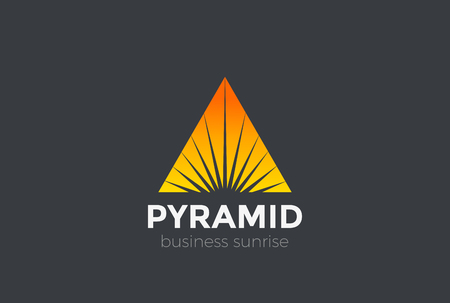 Illustration for Sunrise Sunset Star in Triangle Pyramid Logo abstract design vector template. Corporate Business Luxury Logotype Negative space style - Royalty Free Image