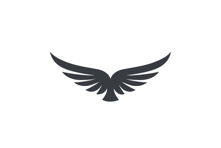 Illustration for Eagle soaring rising Wings Logo design vector template. Luxury corporate heraldic flying Falcon Phoenix Hawk bird Logotype concept icon - Royalty Free Image