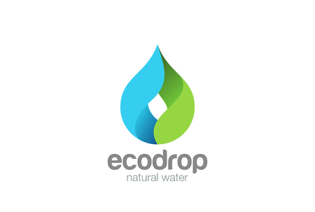 Ilustración de Water drop Logo design vector template. Droplet eco natural aqua Logotype. Blue green icon - Imagen libre de derechos