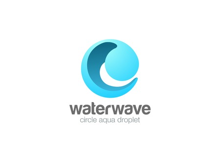 Ilustración de Circle Sphere Wave Logo abstract design vector template 3D style. Water drop Logotype concept icon - Imagen libre de derechos