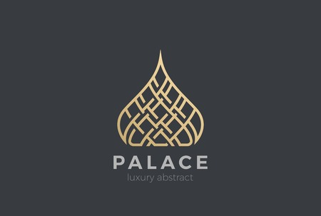 Illustration pour Luxury Islamic Dome Palace Logo design vector template. Real Estate Resort apartments Logotype Linear style - image libre de droit