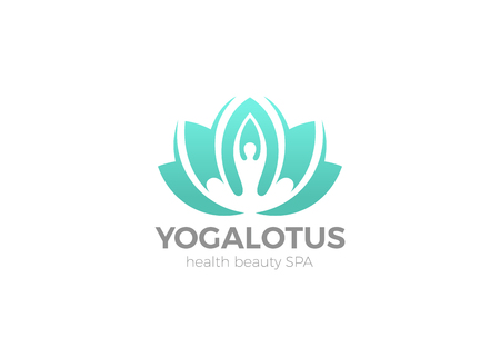 Ilustración de Yoga Lotus pose flower Logo design vector template. Health Beauty SPA Logotype concept icon - Imagen libre de derechos