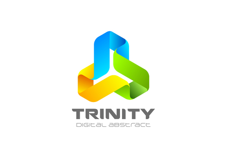 Illustrazione per Trinity infinity Loop Logo design abstract vector template. Ribbon triangle infinite looped shape Logotype concept icon - Immagini Royalty Free