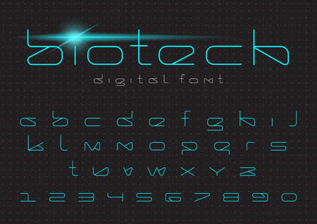 Illustration pour Futuristic vector Font design. Digital Virtual Reality Technology typeface. Letters and Numbers for Computers, Dron Robot Hi-tech themes - image libre de droit