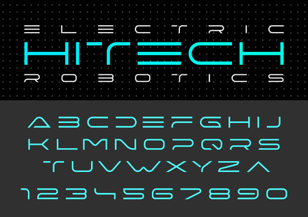 Ilustración de Futuristic vector Font design. Digital Virtual Reality Technology typeface. Letters and Numbers for Computers, Dron Robot Hi-tech themes - Imagen libre de derechos