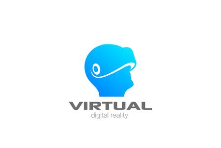 Ilustración de VR Logo design vector template negative space. Man Head with Virtual Reality glasses helmet Logotype icon - Imagen libre de derechos