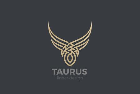 Illustrazione per Bull Taurus abstract silhouette Logo design vector template Linear style. Golden Steak house Logotype icon - Immagini Royalty Free