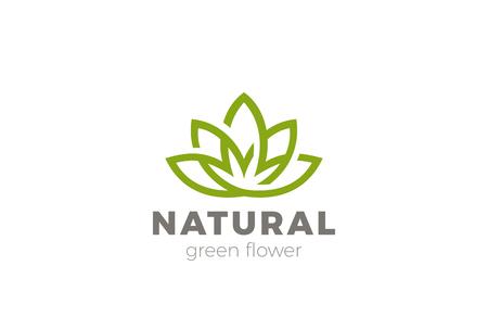 Ilustración de Flower Lotus abstract Logo design vector template. Green Natural Luxury Fashion Logotype. Yoga Health icon - Imagen libre de derechos