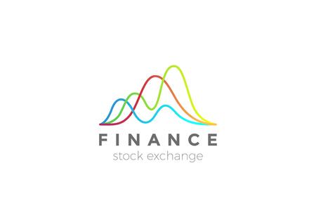 Illustration pour Business Finance Stock Exchange Market Charts Logo design abstract vector template - image libre de droit