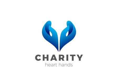 Illustration pour Charity Help Hands Heart shape Logo design vector template. Donation organization Logotype concept icon - image libre de droit
