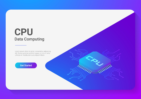 Illustrazione per Isometric Flat CPU GPU Processor Chip vector illustration - Immagini Royalty Free
