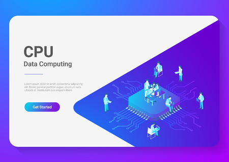 Illustrazione per Isometric Flat People Working on CPU GPU Processor Chip vector illustration. Digital Technology Lab - Immagini Royalty Free
