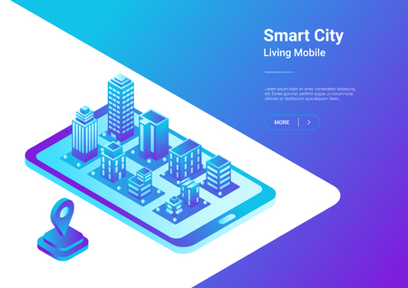Illustrazione per Isometric flat 3D Smart City Map in Mobile Phone Navigation vector illustration concept. Architecture Buildings as virtual town in smartphone - Immagini Royalty Free