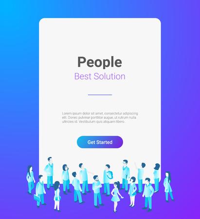 Ilustración de People standing in front of Horizontal Blank banner poster window with Copyspace vector illustration mockup - Imagen libre de derechos